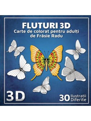 Fluturi 3D - carte de colorat pentru adulți