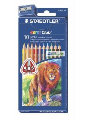 Set 10 creioane color Noris Triplus Jumbo + ascutitoare