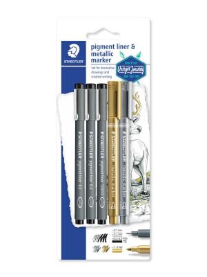 STAEDTLER®308 3 pigment liners + 2 metallic marker 8323