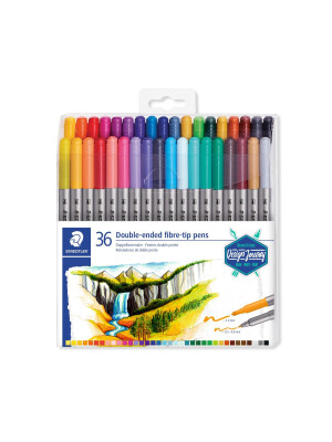 Staedtler Fiber Tip Coloring Pens Double-ended Twin-tipped - Pack 36