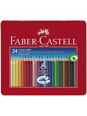 Creioane Colorate 24 Culori Cutie Metal Grip 2001 Faber-Castell