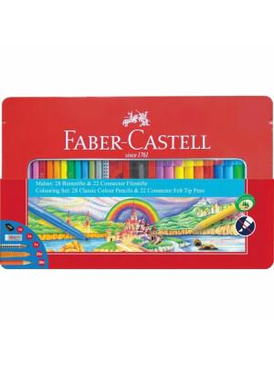 Set Cadou Carioci Connector + Creioane Colorate 53 Buc