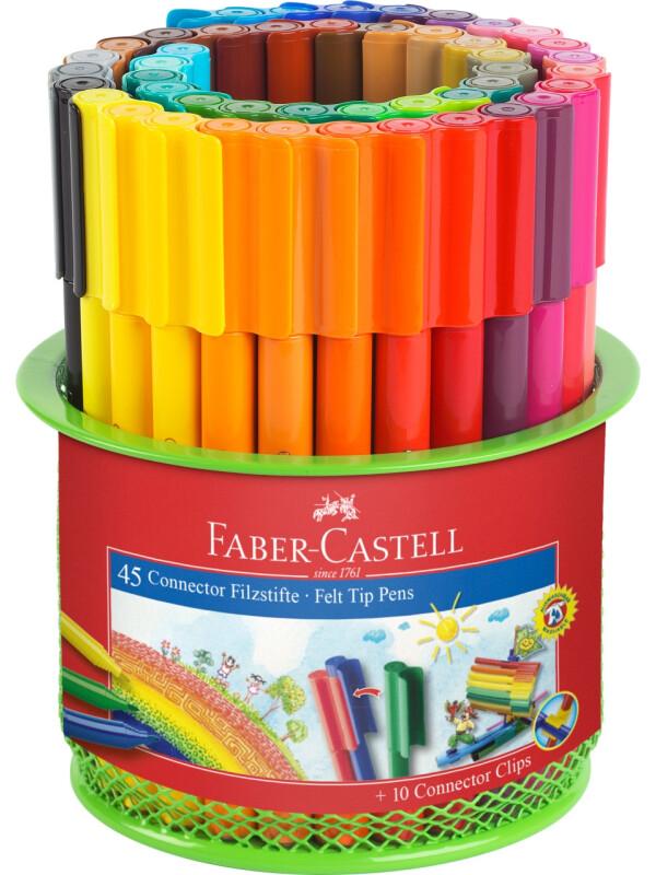 Connector felt tip pen set Mesh tins, 55 pieces
