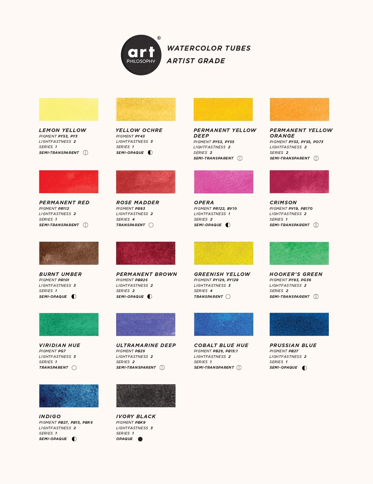 Watercolor Tubes - colors palette